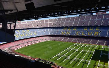 a view of the pitch at camp nou barcelona