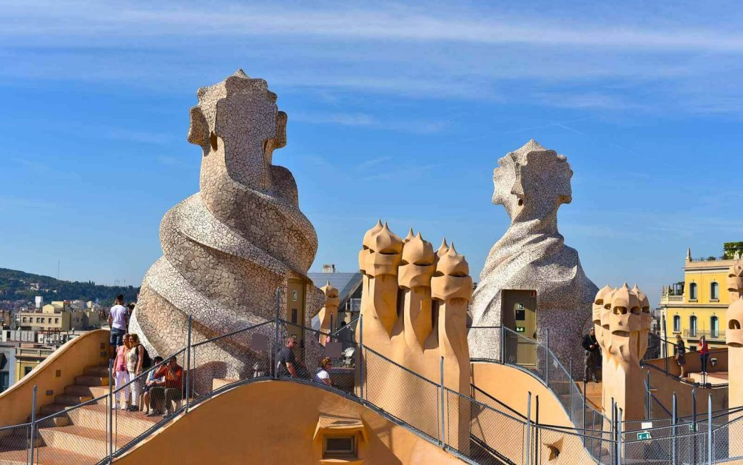 the chimneys on the rooftop at casa mila la pedrera