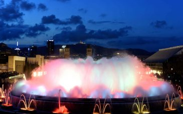 a nighttime showing of the magic fountain barcelona
