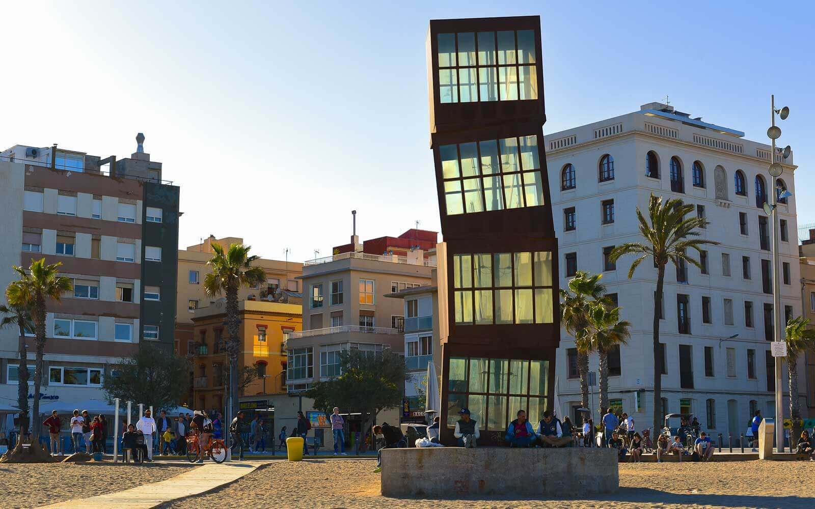 the leaning homentage a la barceloneta monument at barcelona beach neighbourhood