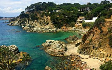 a swimming cove north west of barcelona during hot weather