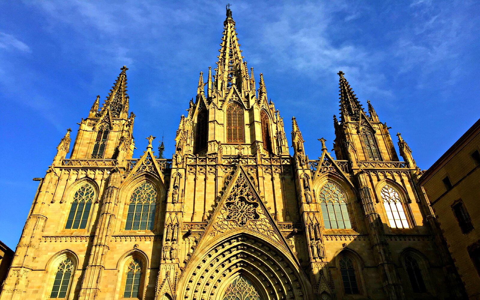 the barcelona cathedral main facade gothic quarter barcelona