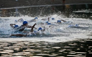 swimmers at ironman barcelona
