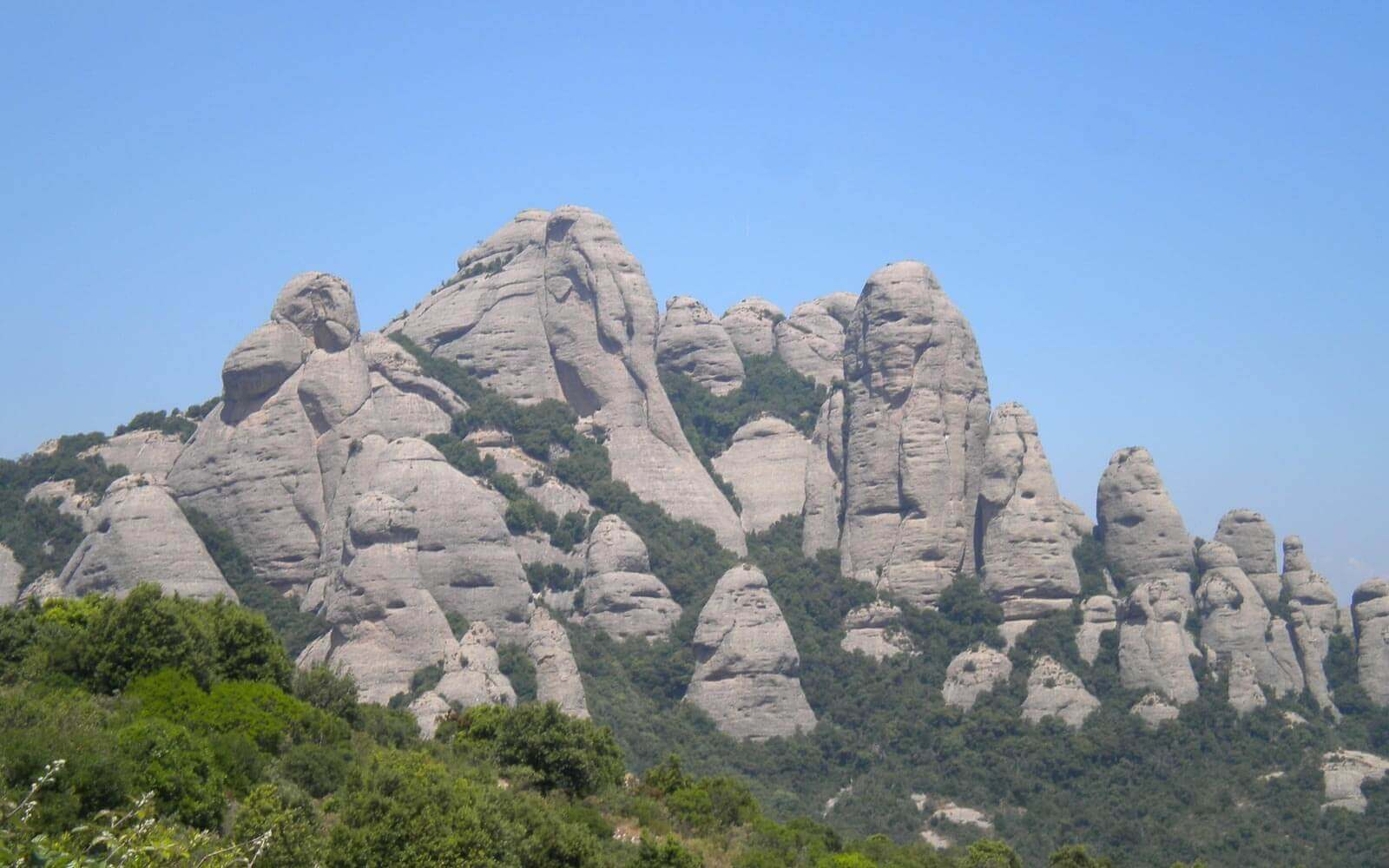 a view of the jagged mountains of montserrat near barcelona