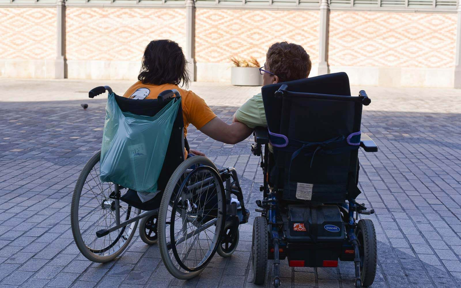 two barcelona disabled visitors in el born