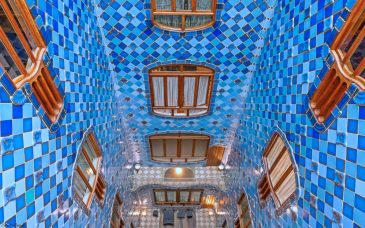 the blue lightwell at gaudi's casa batllo