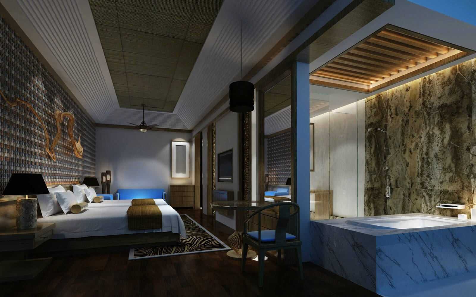 a luxury hotel room in barcelona with jacuzzi