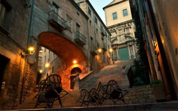 a medieval street in girona spain