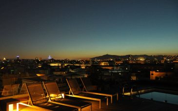 a barcelona rooftop bar with view of montjuic hotel H1898
