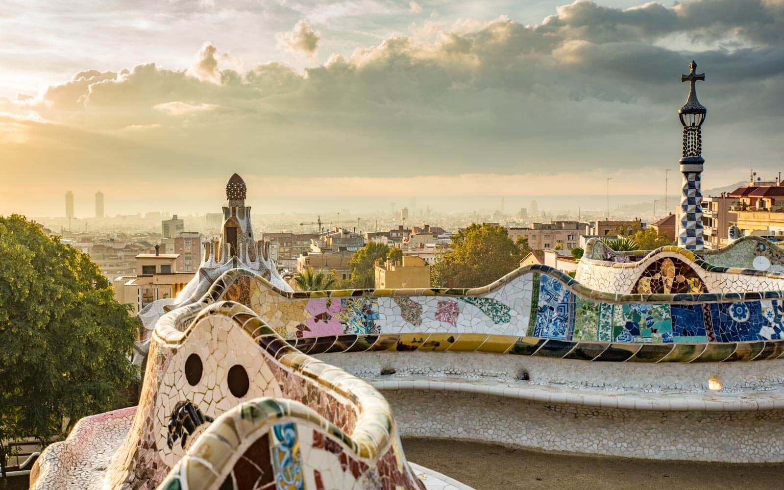 barcelona weather system moving in on the city from park guell