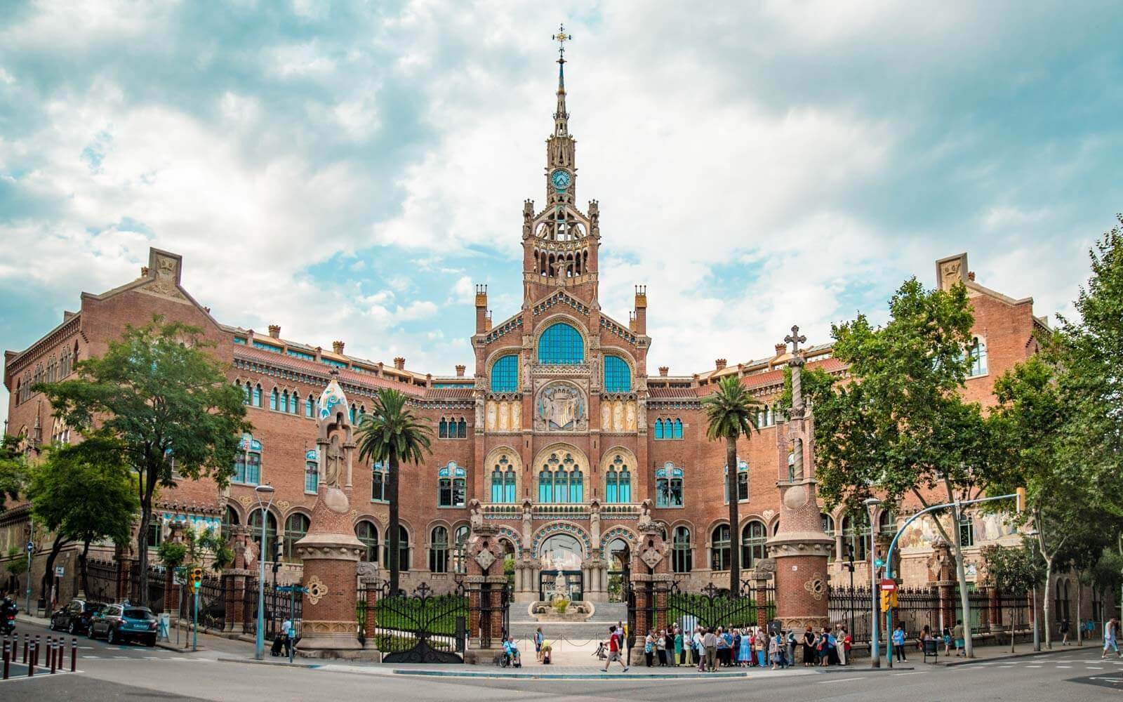 the façade at the hospital de sant pau barcelona spain