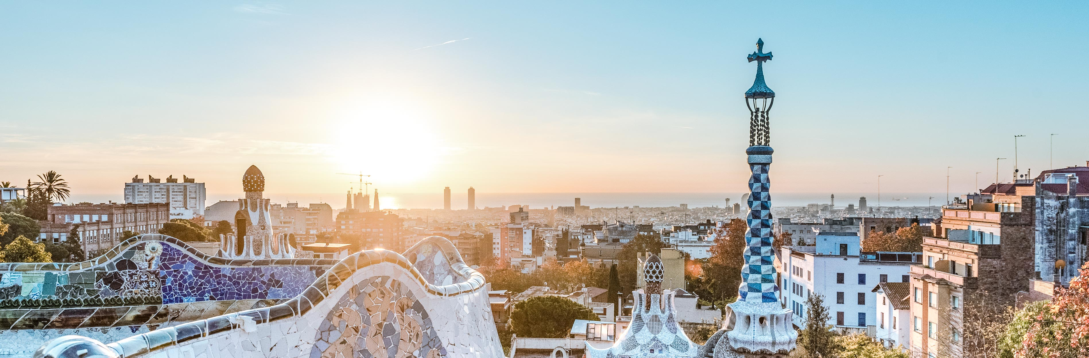 sunrise view of park guell shot by barcelona travel blog company muve travel