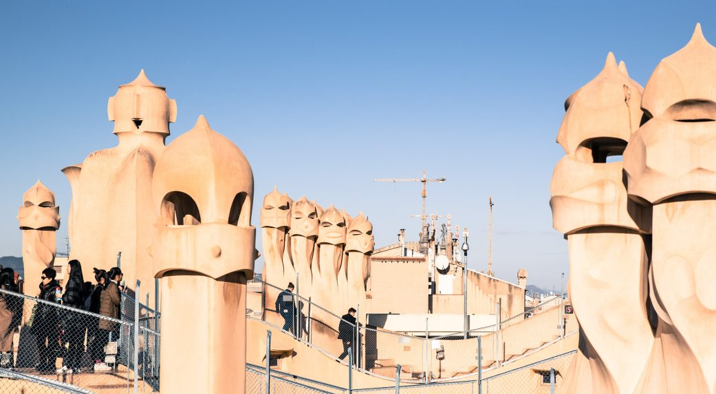 the rooftop chimneys at la pedrera casa mila barcelona spain