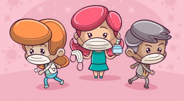 three masked cartoons for barcelona travel restrictions covid